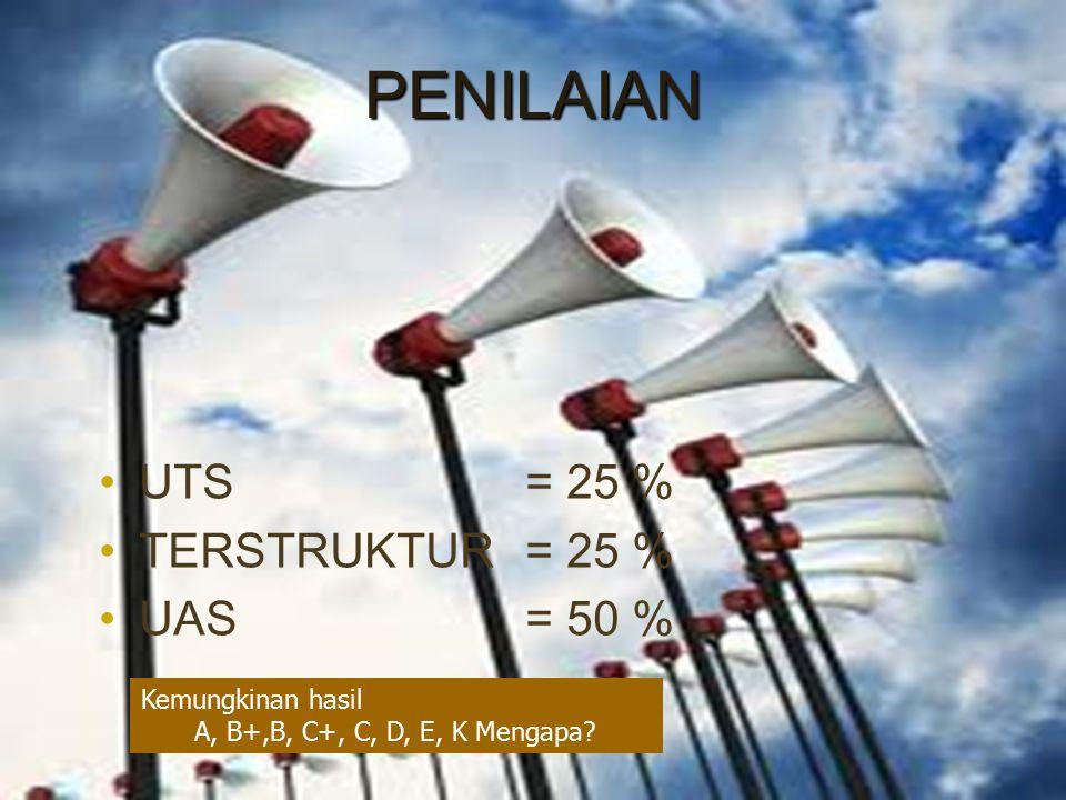 PENILAIAN UTS = 25 % TERSTRUKTUR = 25 % UAS = 50 % Kemungkinan hasil