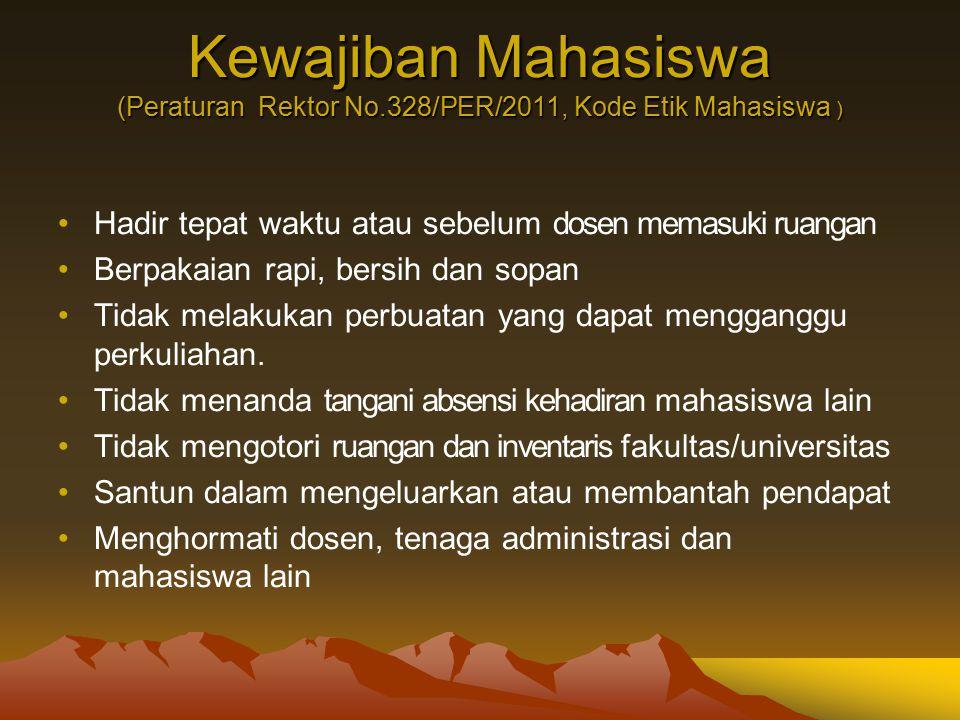 Kewajiban Mahasiswa (Peraturan Rektor No