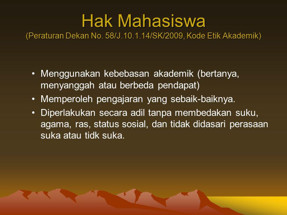 Hak Mahasiswa (Peraturan Dekan No. 58/J. 10. 1