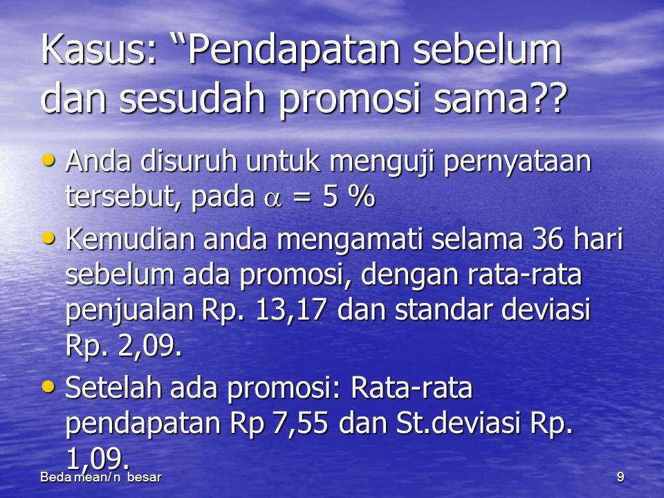 Kasus: Pendapatan sebelum dan sesudah promosi sama