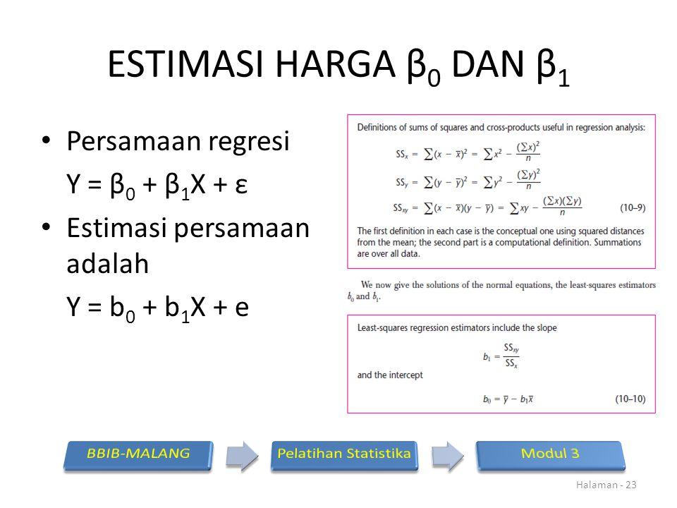ESTIMASI HARGA β0 DAN β1 Persamaan regresi Y = β0 + β1X + ε
