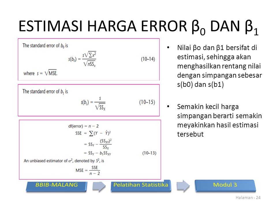ESTIMASI HARGA ERROR β0 DAN β1