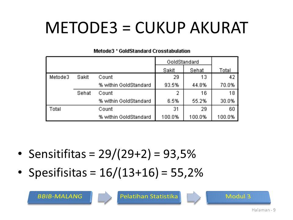 METODE3 = CUKUP AKURAT Sensitifitas = 29/(29+2) = 93,5%