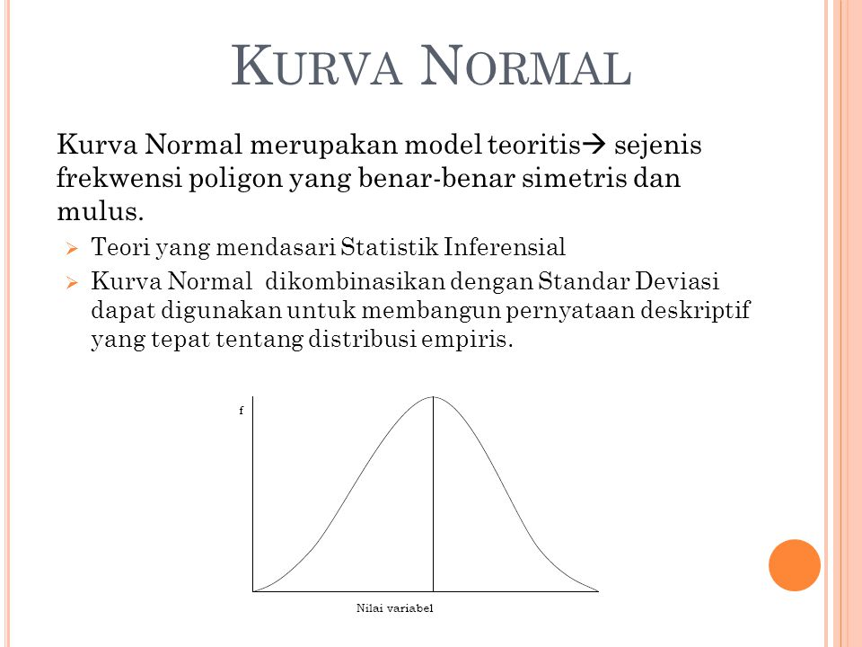 Kurva Normal Kurva Normal merupakan model teoritis sejenis frekwensi poligon yang benar-benar simetris dan mulus.