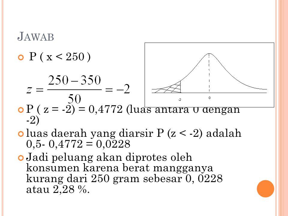 Jawab P ( x < 250 ) P ( z = -2) = 0,4772 (luas antara 0 dengan -2)