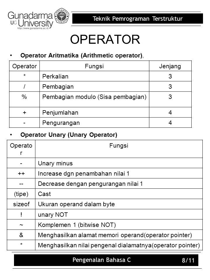OPERATOR Operator Aritmatika (Arithmetic operator),