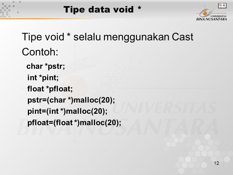 Tipe void * selalu menggunakan Cast Contoh: