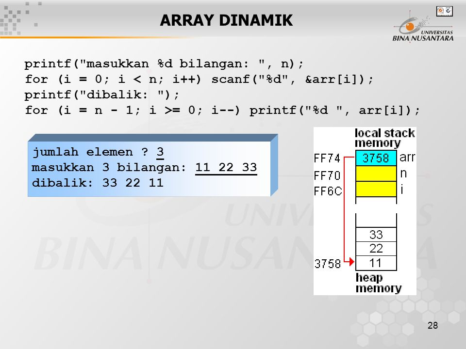 ARRAY DINAMIK printf( masukkan %d bilangan: , n);