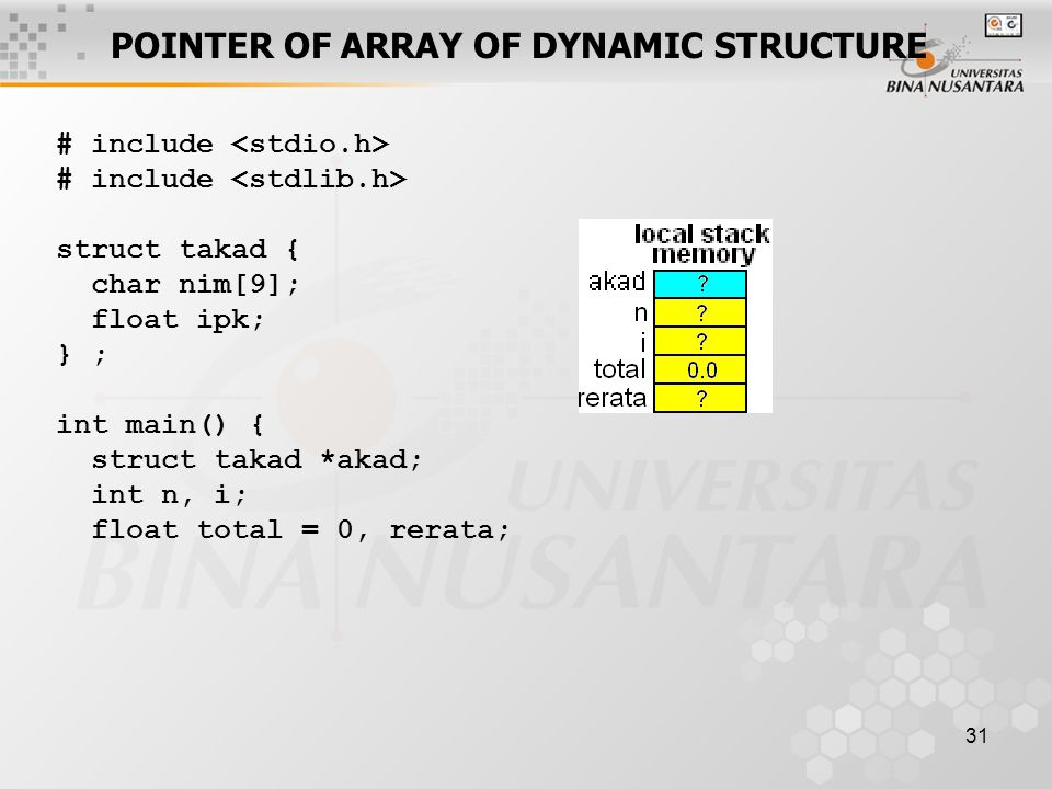 POINTER OF ARRAY OF DYNAMIC STRUCTURE
