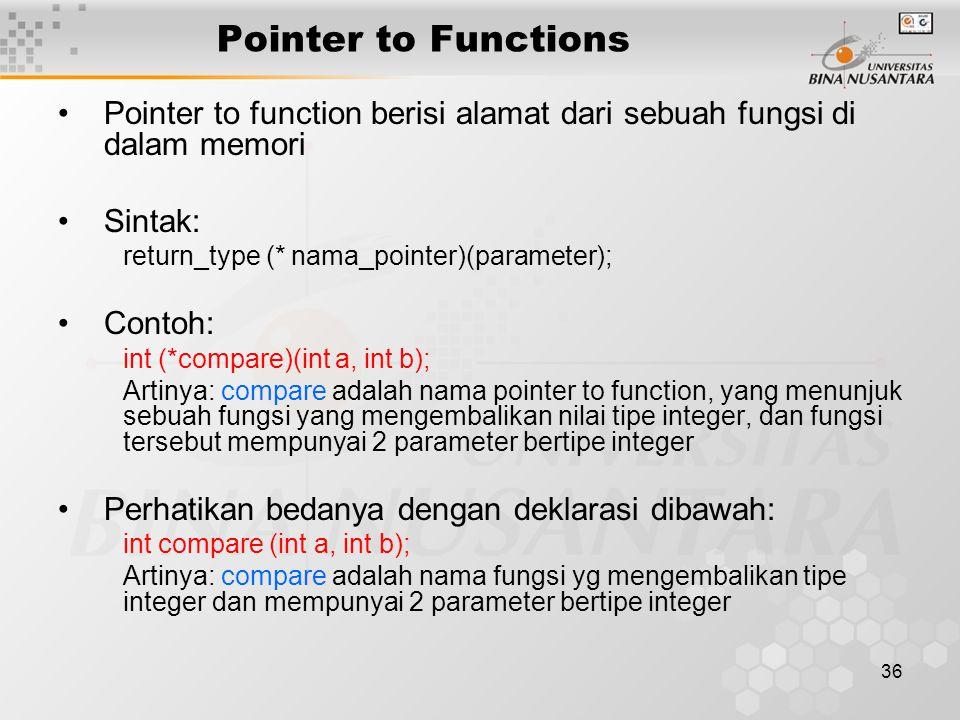 Pointer to Functions Pointer to function berisi alamat dari sebuah fungsi di dalam memori. Sintak: