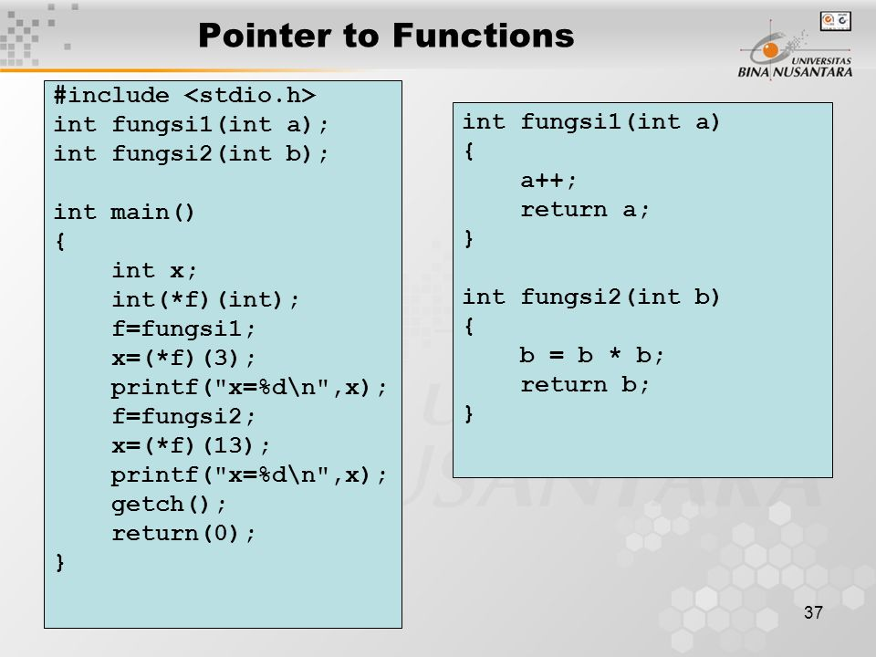 Pointer to Functions #include <stdio.h> int fungsi1(int a);