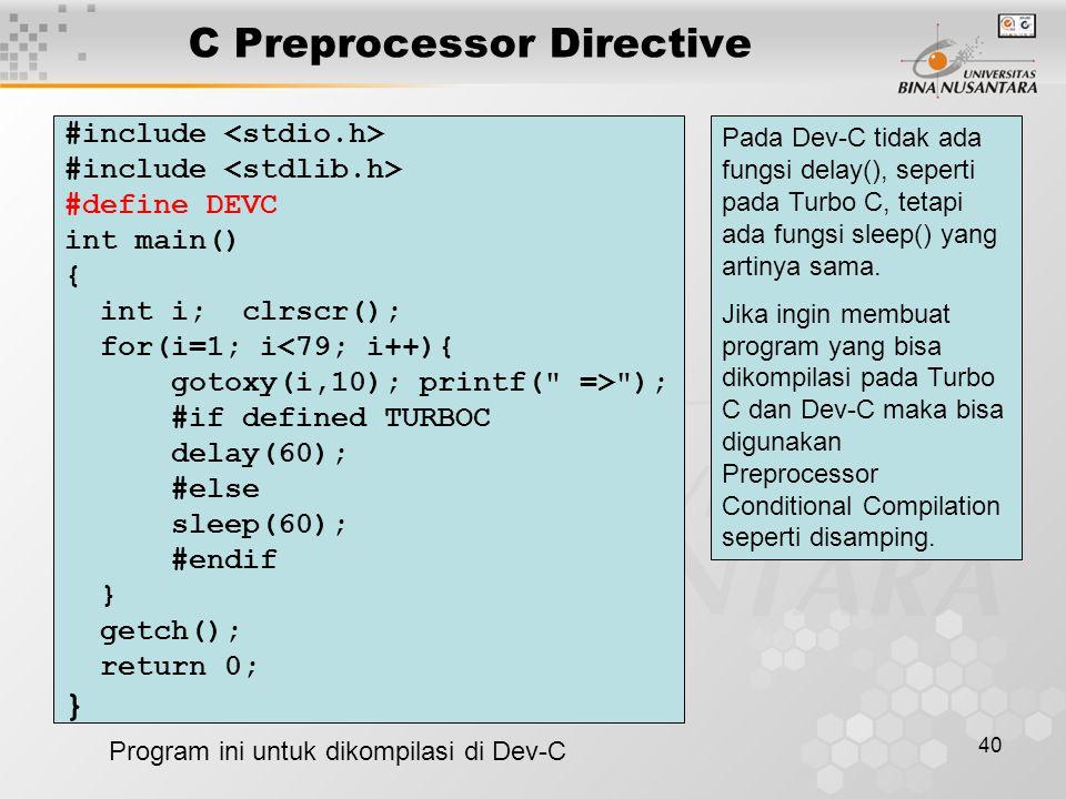 C Preprocessor Directive