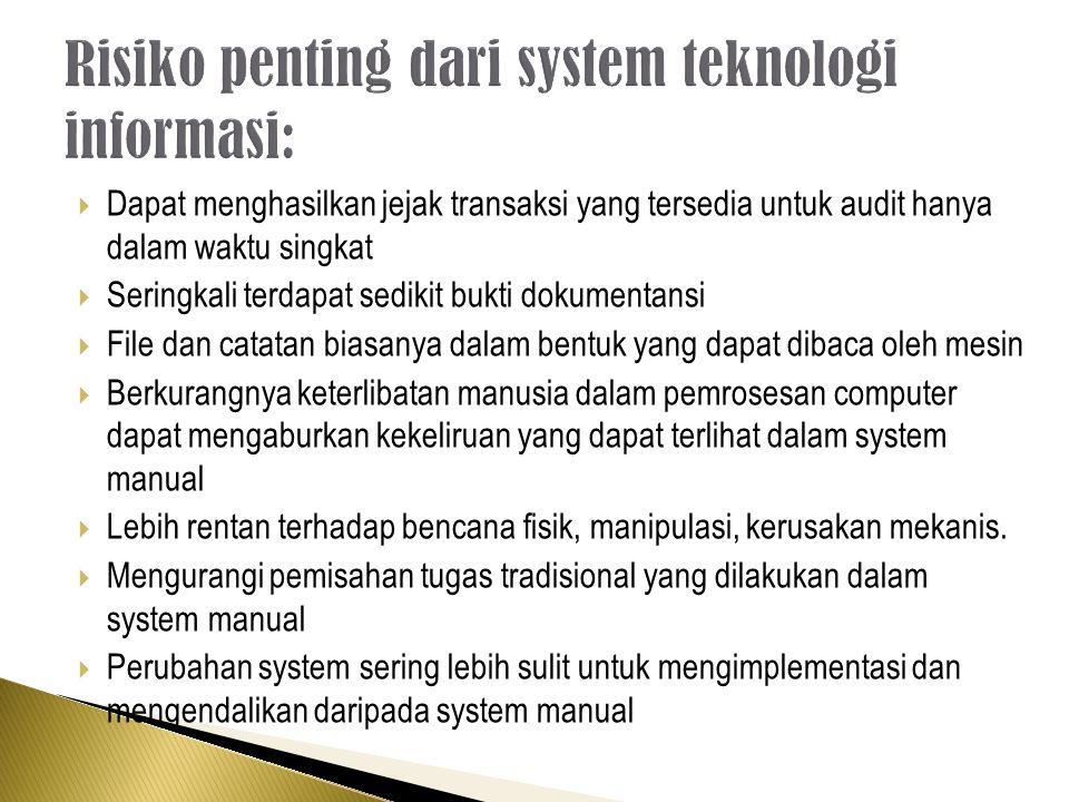 Risiko penting dari system teknologi informasi: