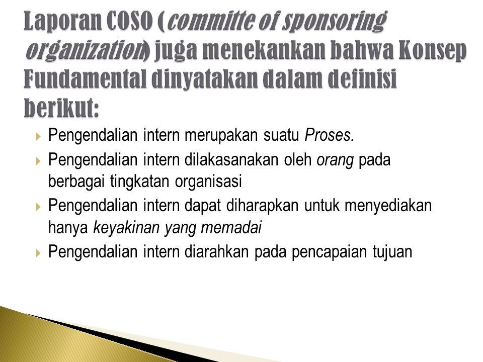 Laporan COSO (committe of sponsoring organization) juga menekankan bahwa Konsep Fundamental dinyatakan dalam definisi berikut: