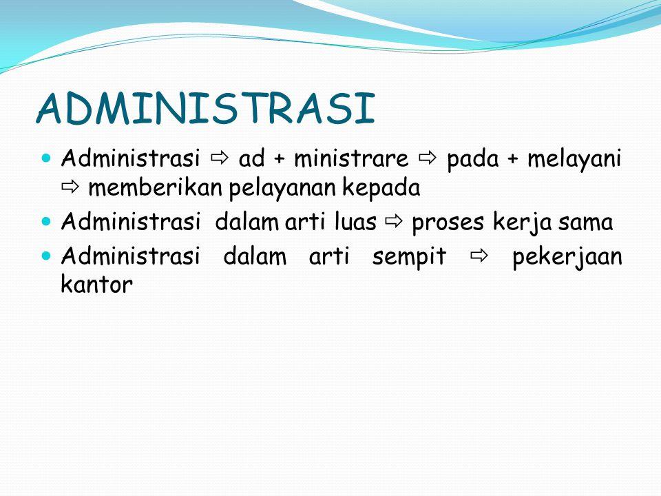 ADMINISTRASI Administrasi  ad + ministrare  pada + melayani  memberikan pelayanan kepada. Administrasi dalam arti luas  proses kerja sama.
