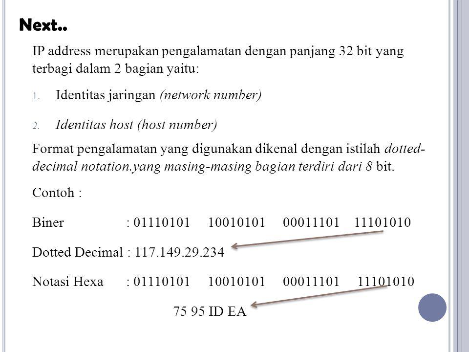 Next.. IP address merupakan pengalamatan dengan panjang 32 bit yang terbagi dalam 2 bagian yaitu: Identitas jaringan (network number)