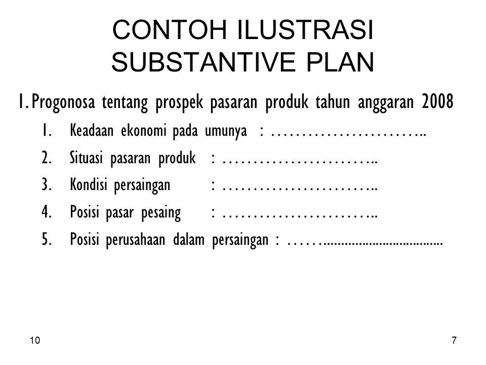 CONTOH ILUSTRASI SUBSTANTIVE PLAN