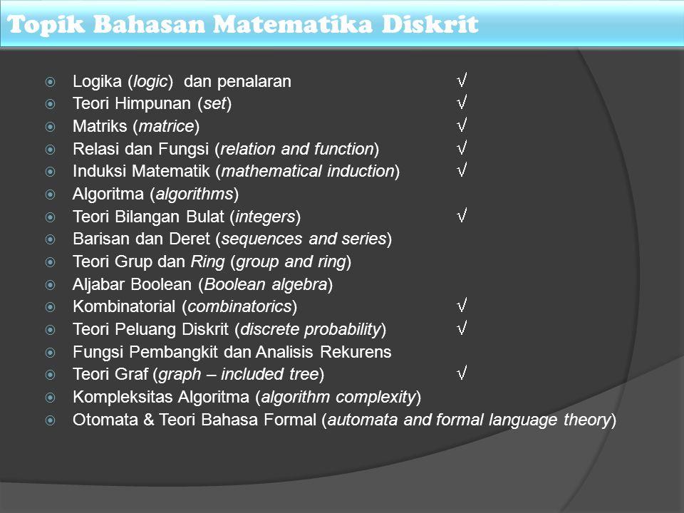 Topik Bahasan Matematika Diskrit