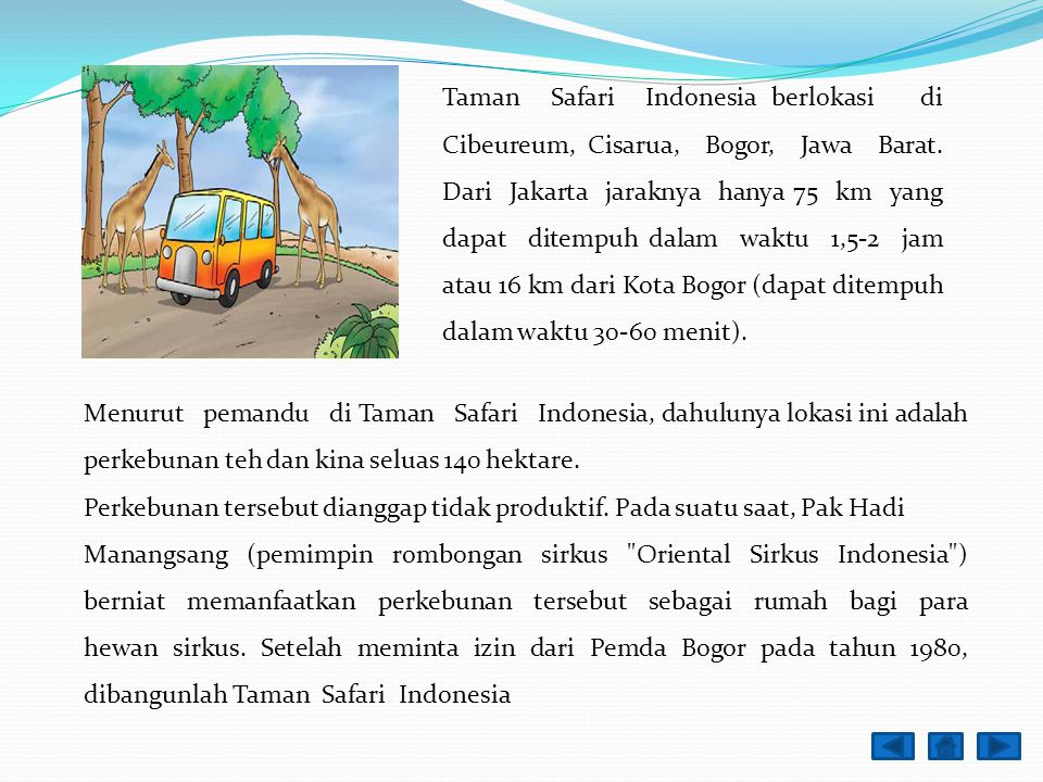 Taman Safari Indonesia berlokasi di Cibeureum, Cisarua, Bogor, Jawa Barat. Dari Jakarta jaraknya hanya 75 km yang dapat ditempuh dalam waktu 1,5-2 jam atau 16 km dari Kota Bogor (dapat ditempuh dalam waktu 30-60 menit).