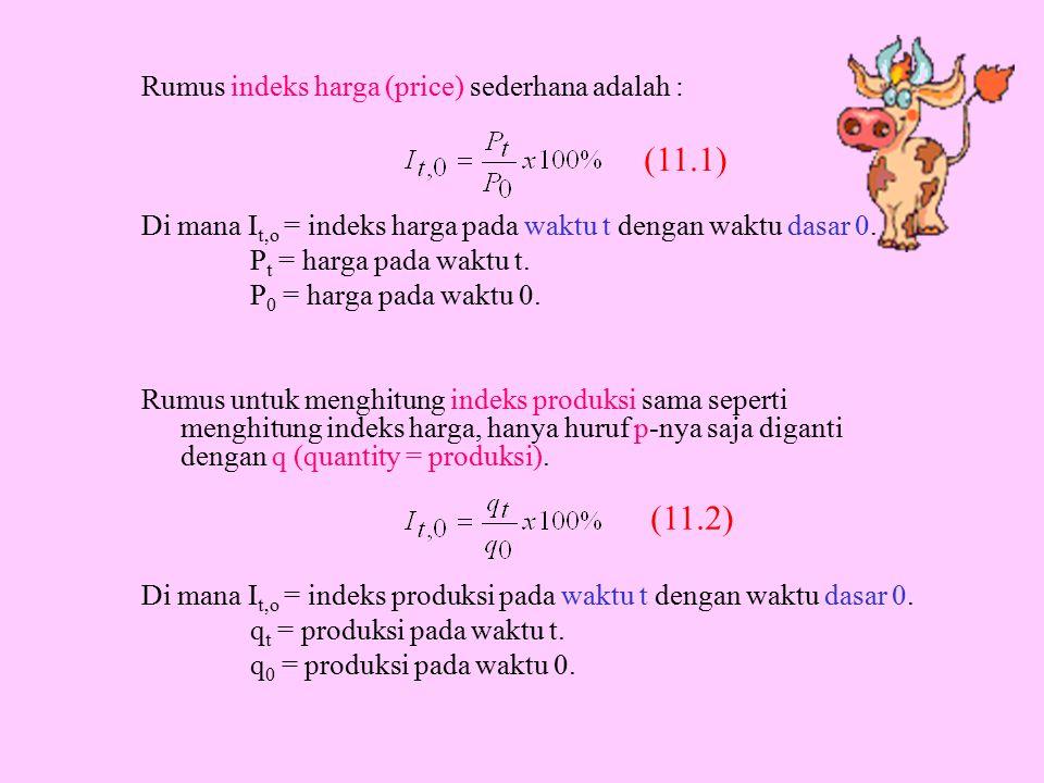 (11.1) (11.2) Rumus indeks harga (price) sederhana adalah :