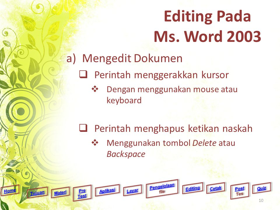Editing Pada Ms. Word 2003 Mengedit Dokumen