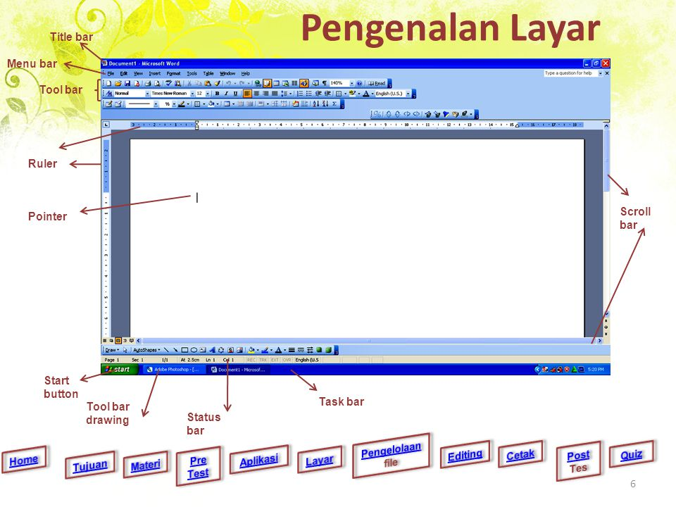 Pengenalan Layar Title bar Menu bar Tool bar Ruler Scroll bar Pointer