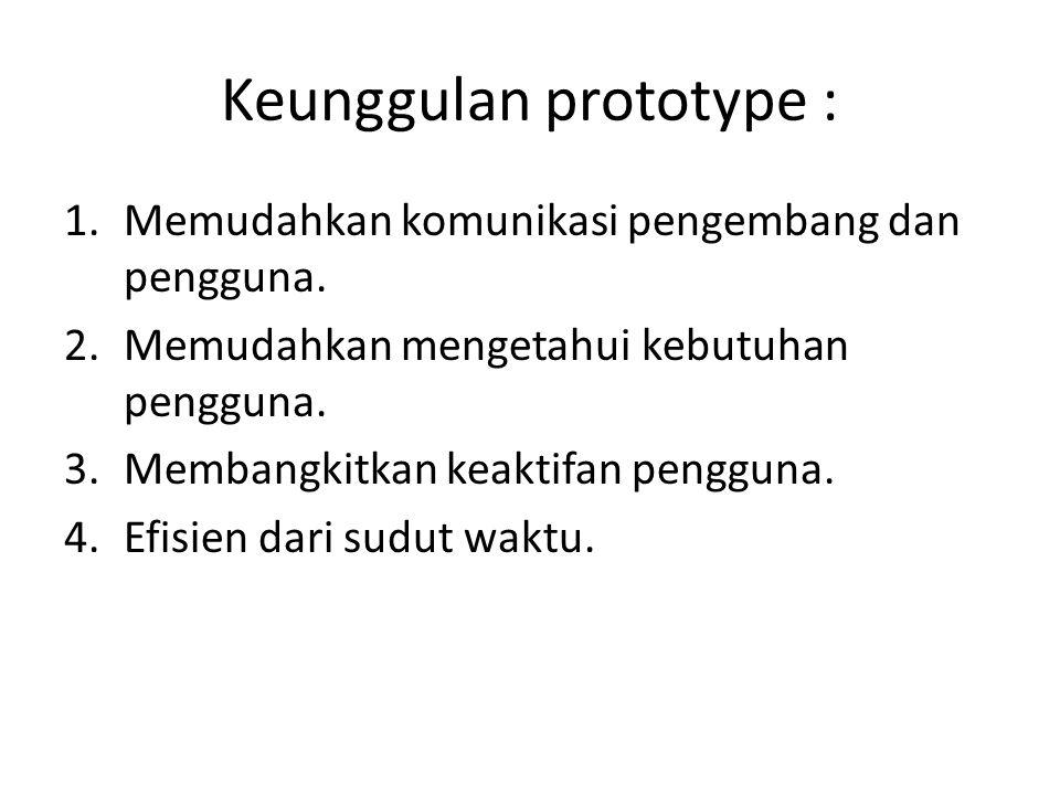 Keunggulan prototype :
