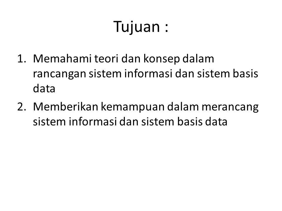 Tujuan : Memahami teori dan konsep dalam rancangan sistem informasi dan sistem basis data.