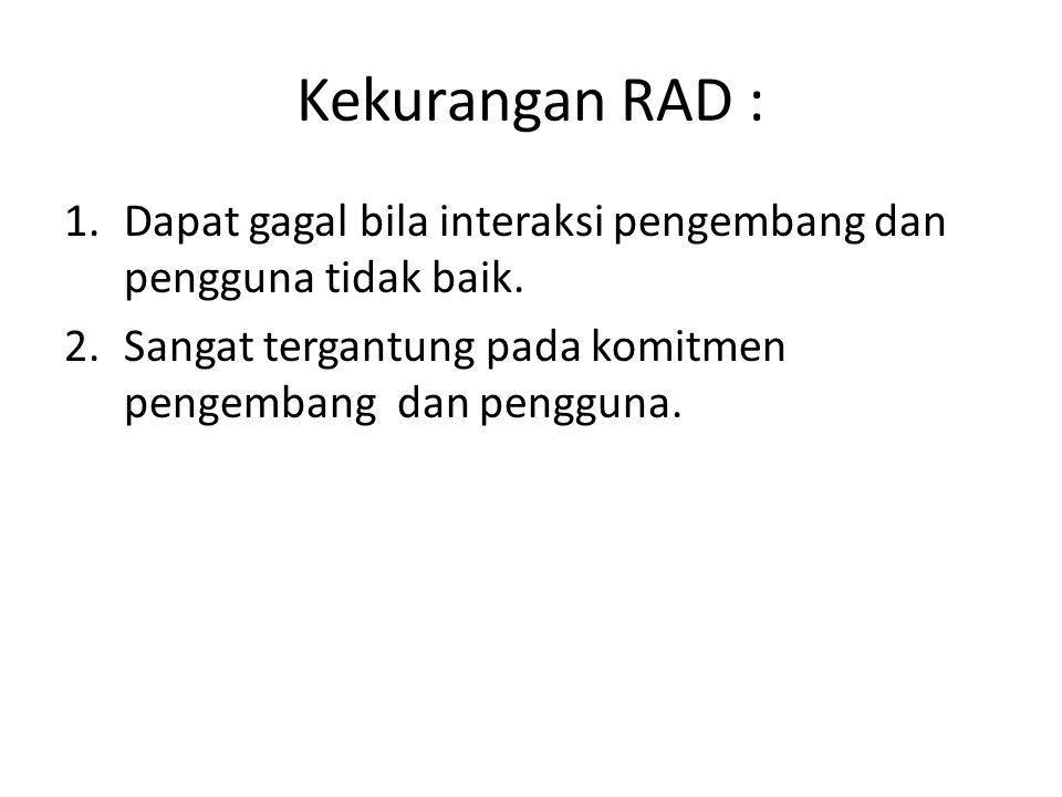 Kekurangan RAD : Dapat gagal bila interaksi pengembang dan pengguna tidak baik.
