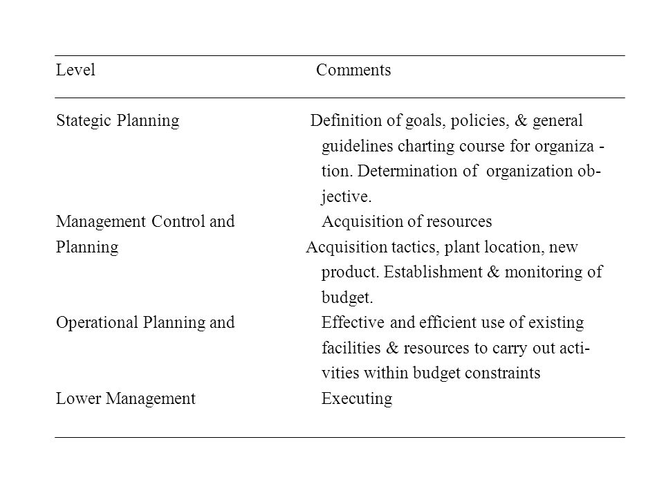 Level Comments Stategic Planning Definition of goals, policies, & general.