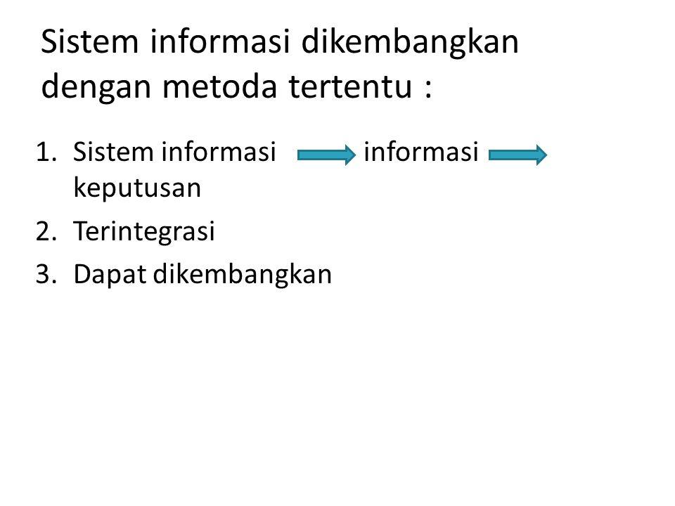 Sistem informasi dikembangkan dengan metoda tertentu :