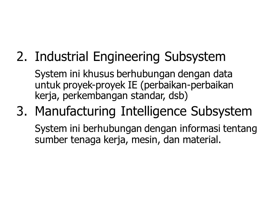 Industrial Engineering Subsystem