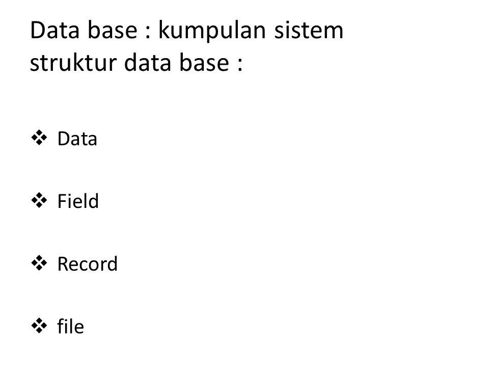 Data base : kumpulan sistem struktur data base :