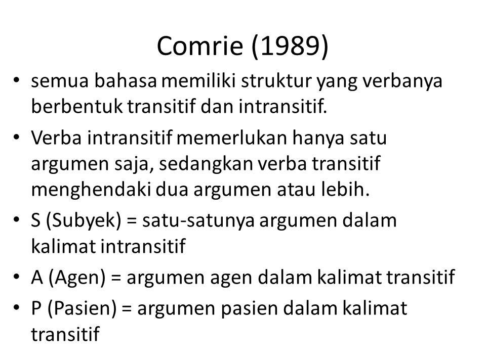 Comrie (1989) semua bahasa memiliki struktur yang verbanya berbentuk transitif dan intransitif.