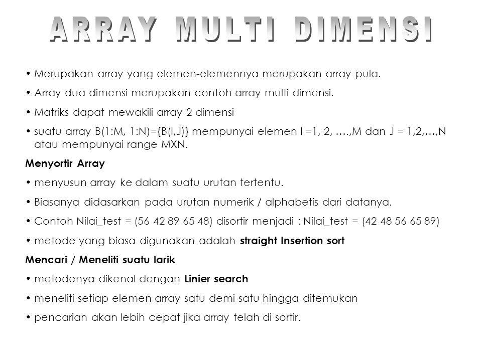 ARRAY MULTI DIMENSI Merupakan array yang elemen-elemennya merupakan array pula. Array dua dimensi merupakan contoh array multi dimensi.