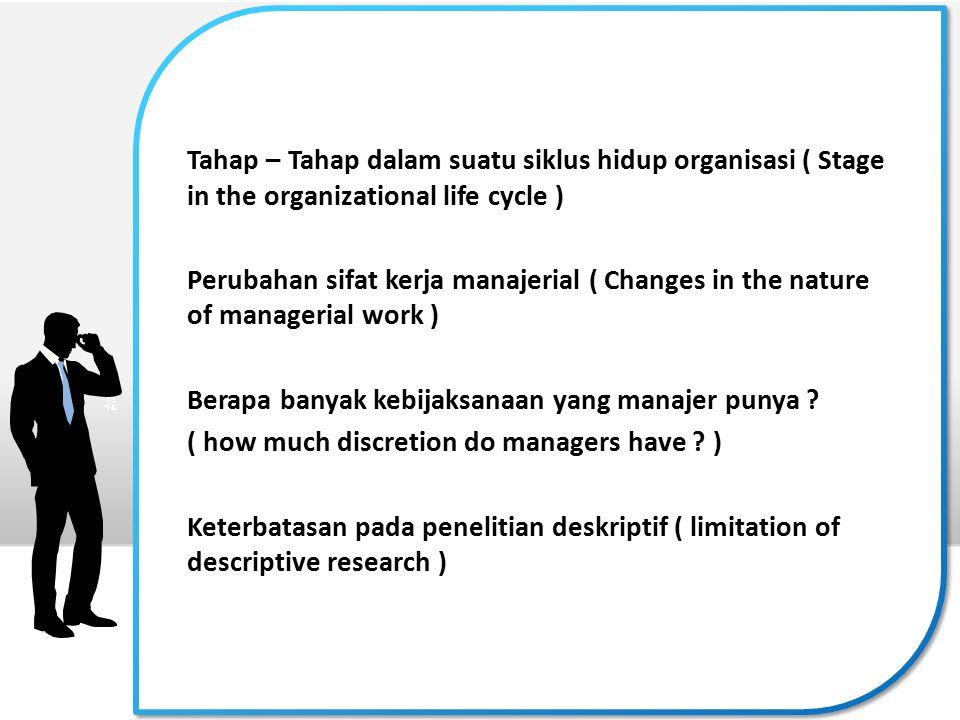 Tahap – Tahap dalam suatu siklus hidup organisasi ( Stage in the organizational life cycle )