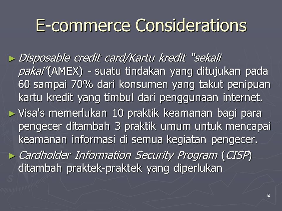 E-commerce Considerations