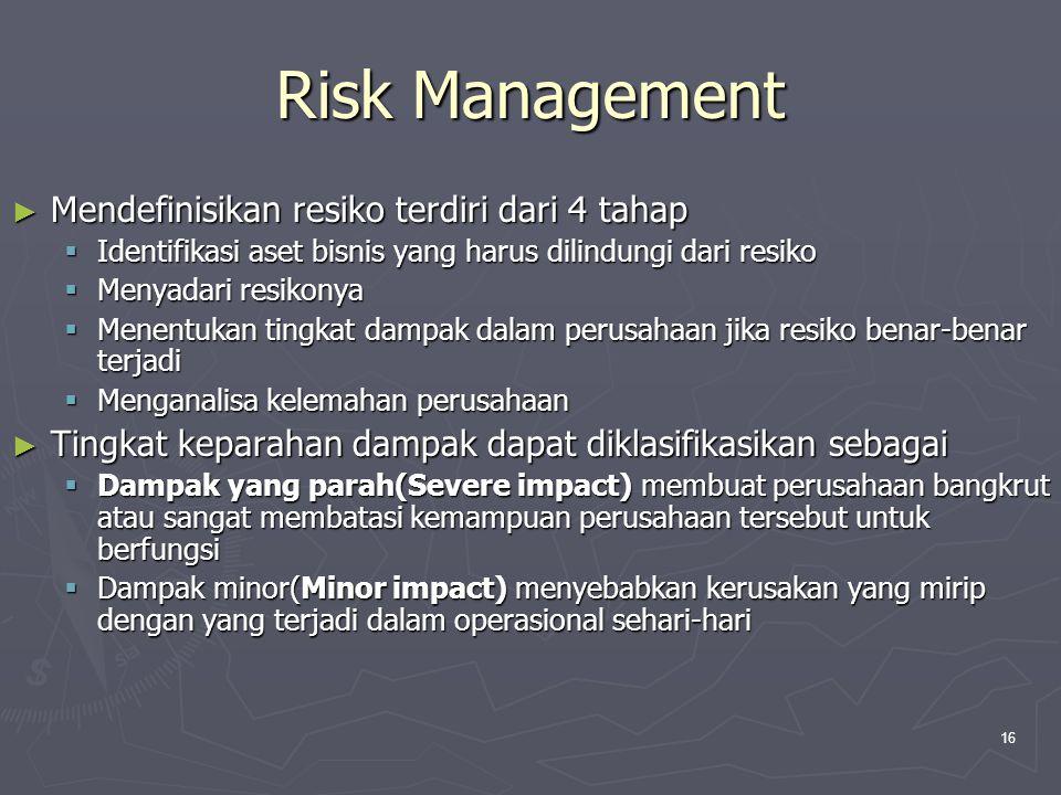Risk Management Mendefinisikan resiko terdiri dari 4 tahap