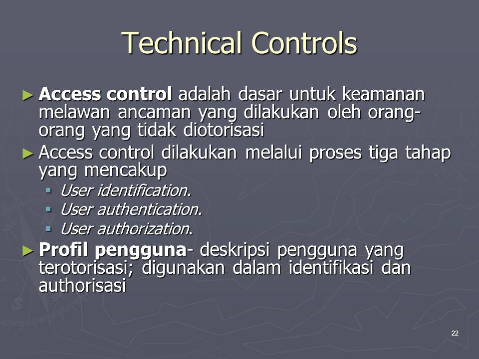 Technical Controls Access control adalah dasar untuk keamanan melawan ancaman yang dilakukan oleh orang-orang yang tidak diotorisasi.