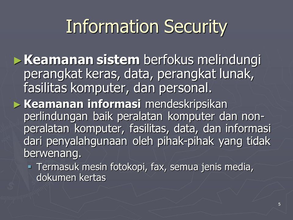Information Security Keamanan sistem berfokus melindungi perangkat keras, data, perangkat lunak, fasilitas komputer, dan personal.