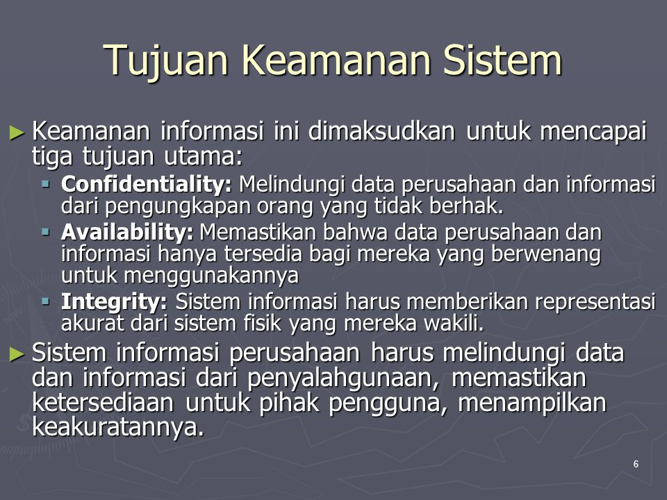 Tujuan Keamanan Sistem