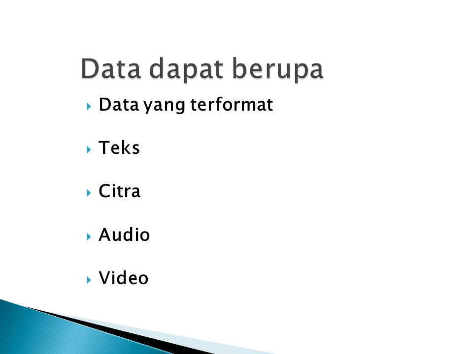 Data dapat berupa Data yang terformat Teks Citra Audio Video