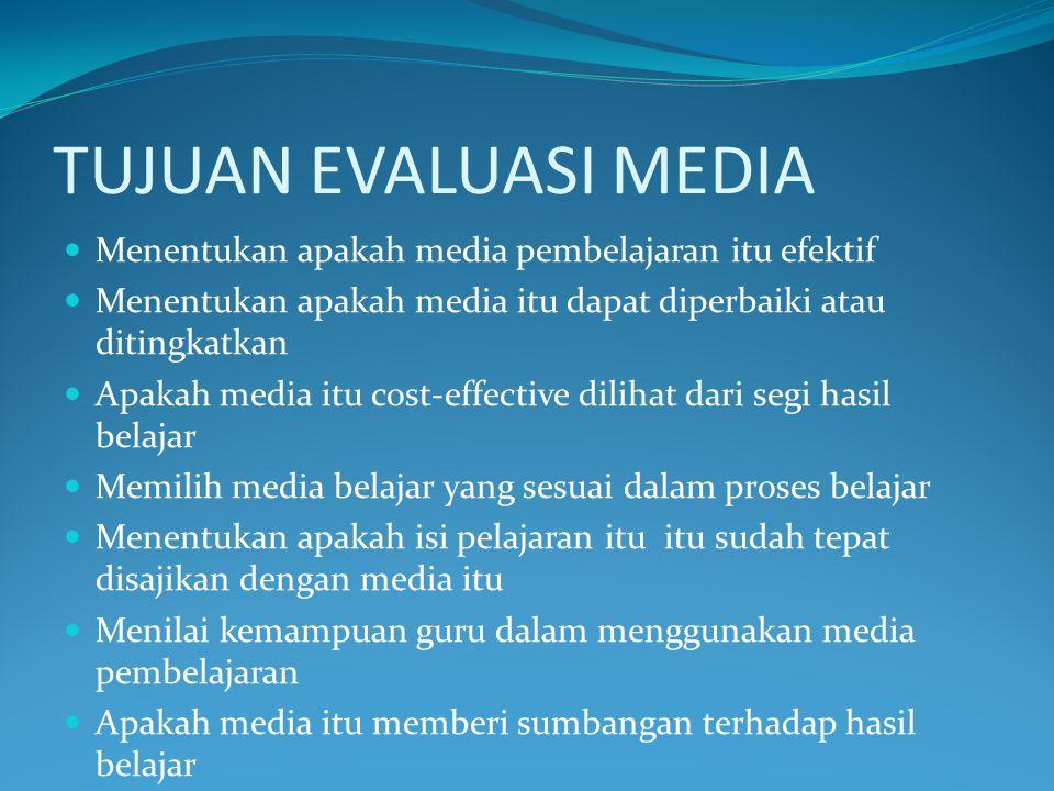 TUJUAN EVALUASI MEDIA Menentukan apakah media pembelajaran itu efektif
