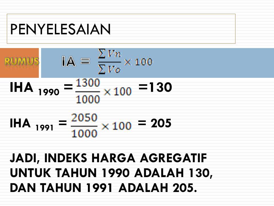 PENYELESAIAN IA = IHA 1990 = =130 IHA 1991 = = 205