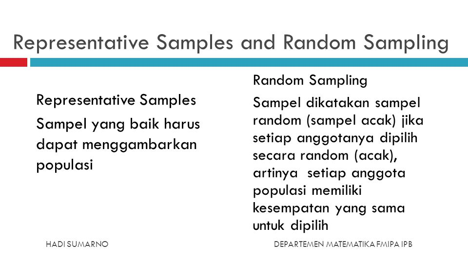 Representative Samples and Random Sampling