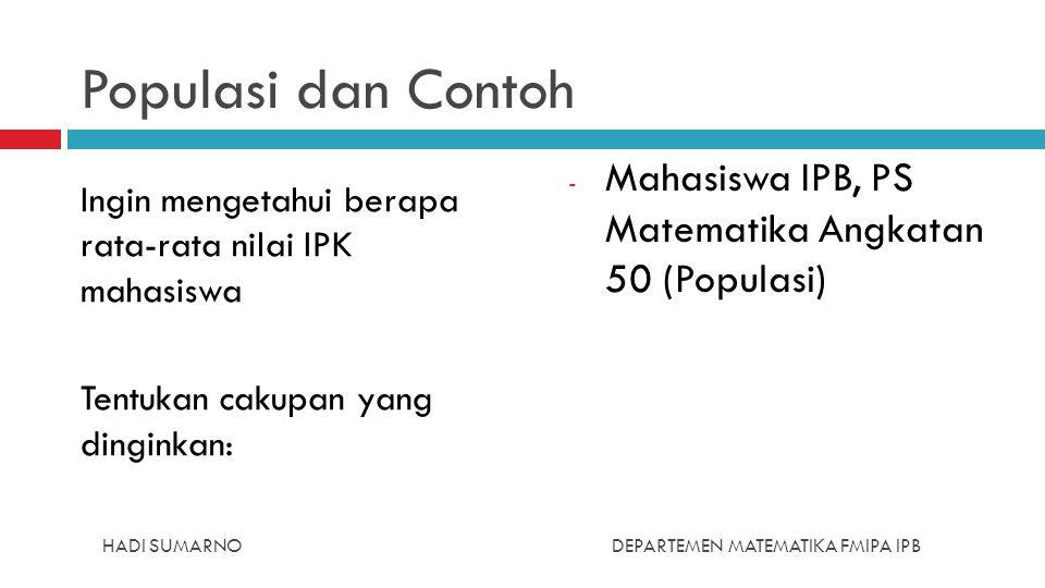 Populasi dan Contoh Ingin mengetahui berapa rata-rata nilai IPK mahasiswa Tentukan cakupan yang dinginkan: