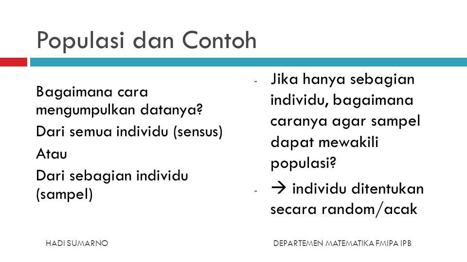 Populasi dan Contoh Bagaimana cara mengumpulkan datanya Dari semua individu (sensus) Atau Dari sebagian individu (sampel)