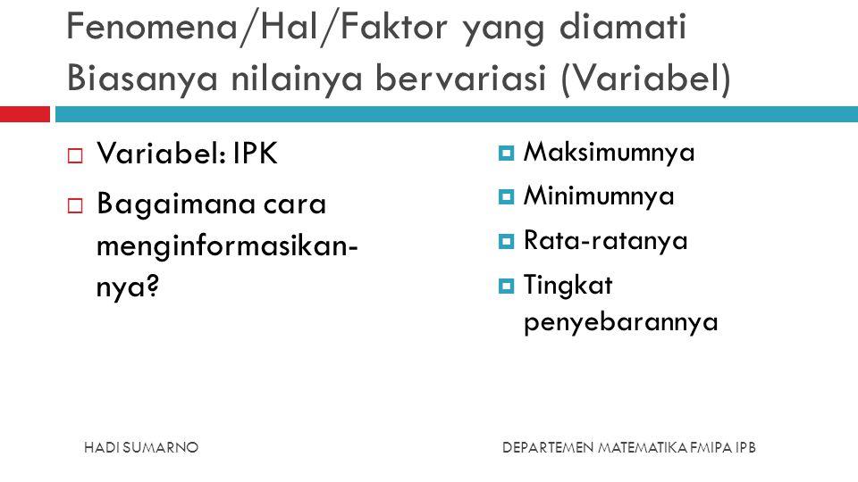 Fenomena/Hal/Faktor yang diamati Biasanya nilainya bervariasi (Variabel)