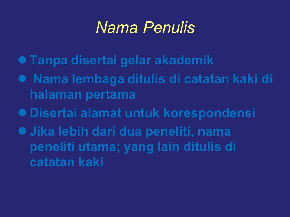 Nama Penulis Tanpa disertai gelar akademik