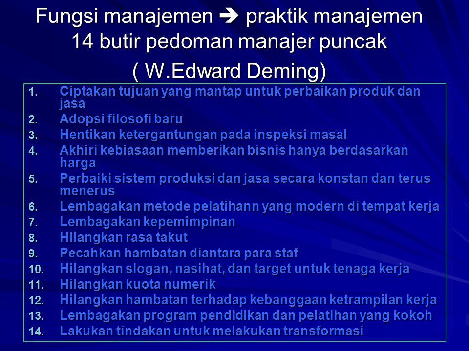 Fungsi manajemen  praktik manajemen 14 butir pedoman manajer puncak ( W.Edward Deming)